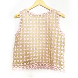 Red Valentino | Pink & Tan Scalloped Top blouse 44